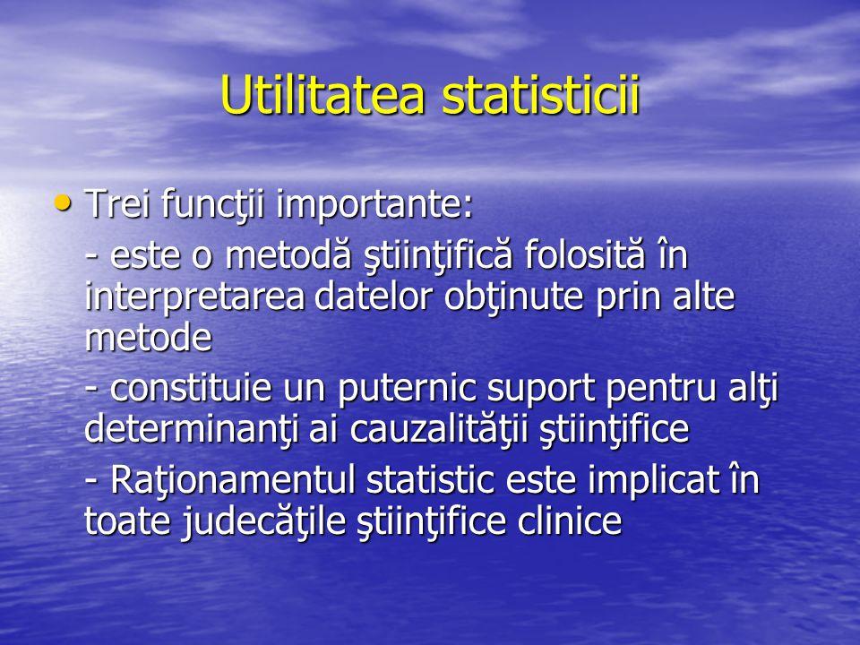 Utilitatea statisticii Trei funcţii importante: Trei funcţii importante: - este o metodă ştiinţifică folosită în interpretarea datelor obţinute prin a
