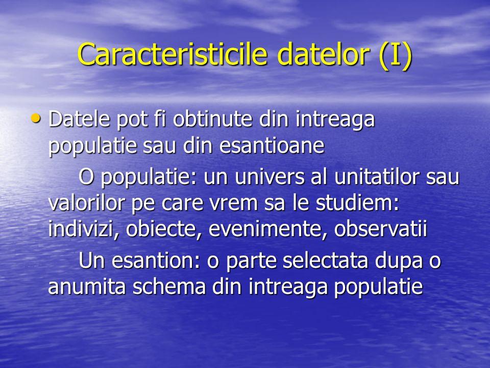 Caracteristicile datelor (I) Datele pot fi obtinute din intreaga populatie sau din esantioane Datele pot fi obtinute din intreaga populatie sau din es