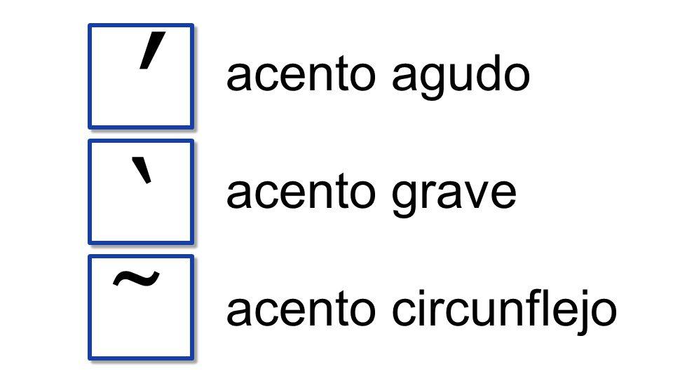 acento agudo ` ʹ ῀ acento grave acento circunflejo