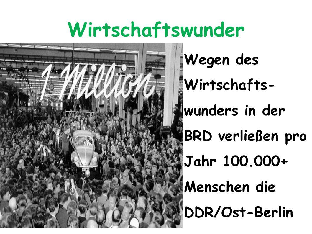 Wirtschaftswunder Wegen des Wirtschafts- wunders in der BRD verließen pro Jahr 100.000+ Menschen die DDR/Ost-Berlin