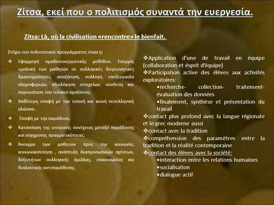 Στόχοι του πολιτιστικού προγράμματος είναι η:  Εφαρμογή ομαδοσυνεργατικής μεθόδου.
