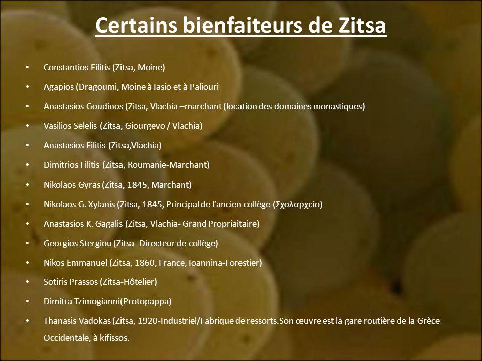 Certains bienfaiteurs de Zitsa Constantios Filitis (Zitsa, Moine) Agapios (Dragoumi, Moine à Iasio et à Paliouri Anastasios Goudinos (Zitsa, Vlachia –marchant (location des domaines monastiques) Vasilios Selelis (Zitsa, Giourgevo / Vlachia) Anastasios Filitis (Zitsa,Vlachia) Dimitrios Filitis (Zitsa, Roumanie-Marchant) Nikolaos Gyras (Zitsa, 1845, Marchant) Nikolaos G.