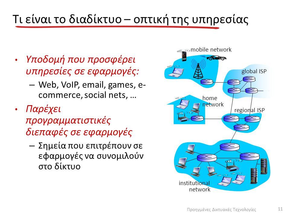 Τι είναι το διαδίκτυο – οπτική της υπηρεσίας Υποδομή που προσφέρει υπηρεσίες σε εφαρμογές: – Web, VoIP, email, games, e- commerce, social nets, … Παρέ