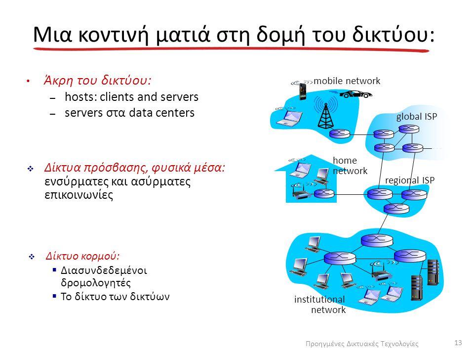 Μια κοντινή ματιά στη δομή του δικτύου: Άκρη του δικτύου: – hosts: clients and servers – servers στα data centers  Δίκτυα πρόσβασης, φυσικά μέσα: ενσ