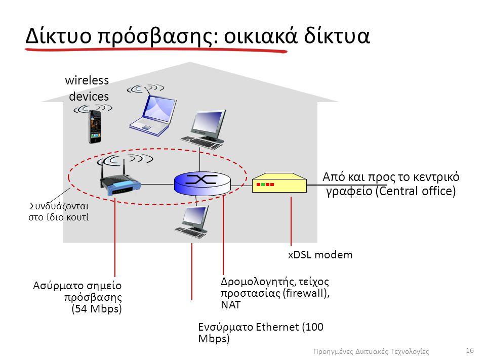 Δίκτυο πρόσβασης: οικιακά δίκτυα Από και προς το κεντρικό γραφείο (Central office) xDSL modem Δρομολογητής, τείχος προστασίας (firewall), NAT Ενσύρματ