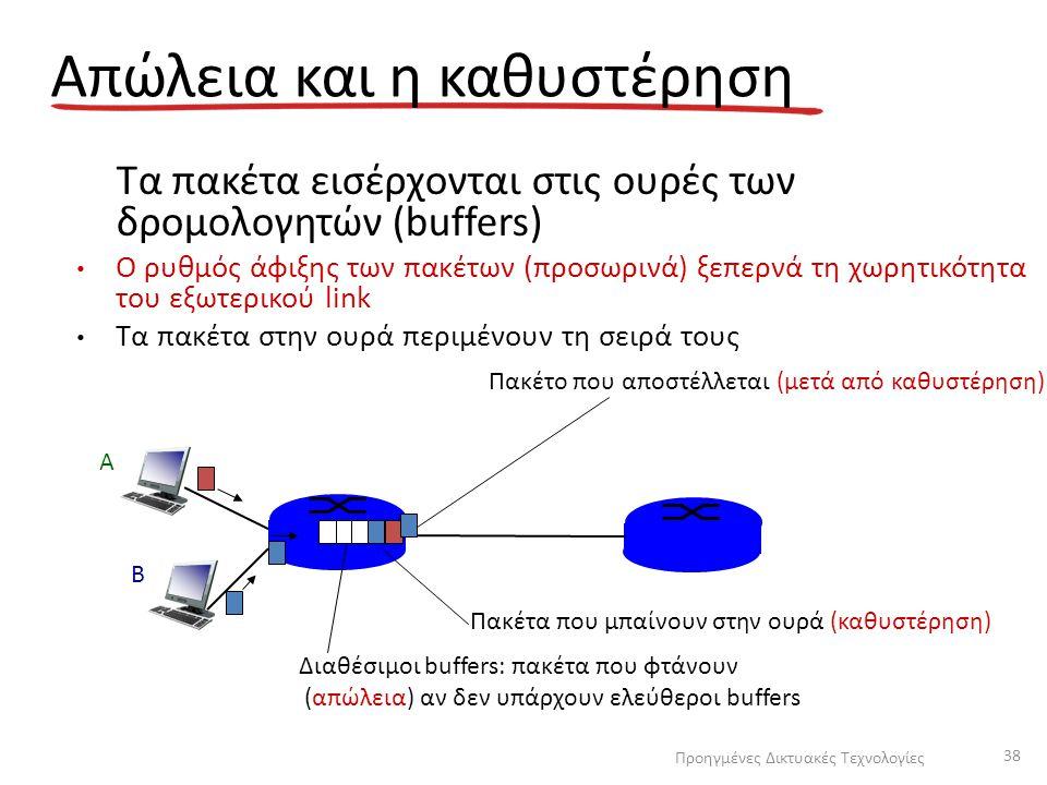 Απώλεια και η καθυστέρηση Τα πακέτα εισέρχονται στις ουρές των δρομολογητών (buffers) Ο ρυθμός άφιξης των πακέτων (προσωρινά) ξεπερνά τη χωρητικότητα