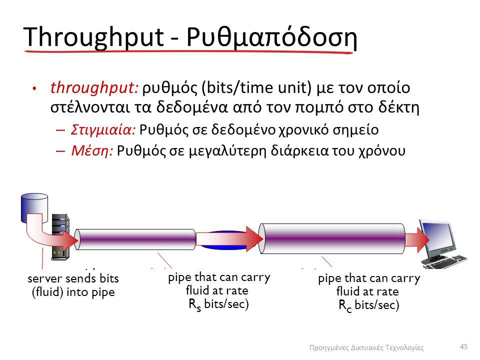 Throughput - Ρυθμαπόδοση throughput: ρυθμός (bits/time unit) με τον οποίο στέλνονται τα δεδομένα από τον πομπό στο δέκτη – Στιγμιαία: Ρυθμός σε δεδομέ