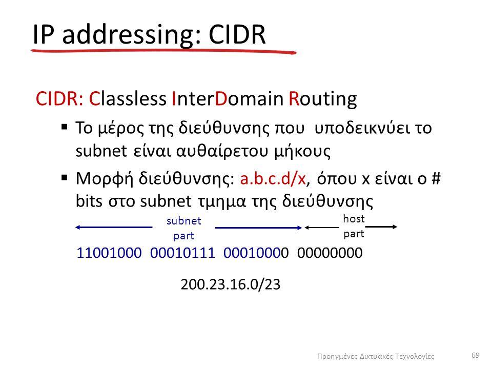 IP addressing: CIDR CIDR: Classless InterDomain Routing  Το μέρος της διεύθυνσης που υποδεικνύει το subnet είναι αυθαίρετου μήκους  Μορφή διεύθυνσης