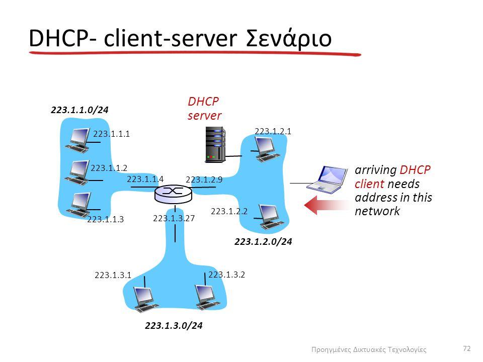 DHCP- client-server Σενάριο 223.1.1.0/24 223.1.2.0/24 223.1.3.0/24 223.1.1.1 223.1.1.3 223.1.1.4 223.1.2.9 223.1.3.2 223.1.3.1 223.1.1.2 223.1.3.27 223.1.2.2 223.1.2.1 DHCP server arriving DHCP client needs address in this network Προηγμένες Δικτυακές Τεχνολογίες 72