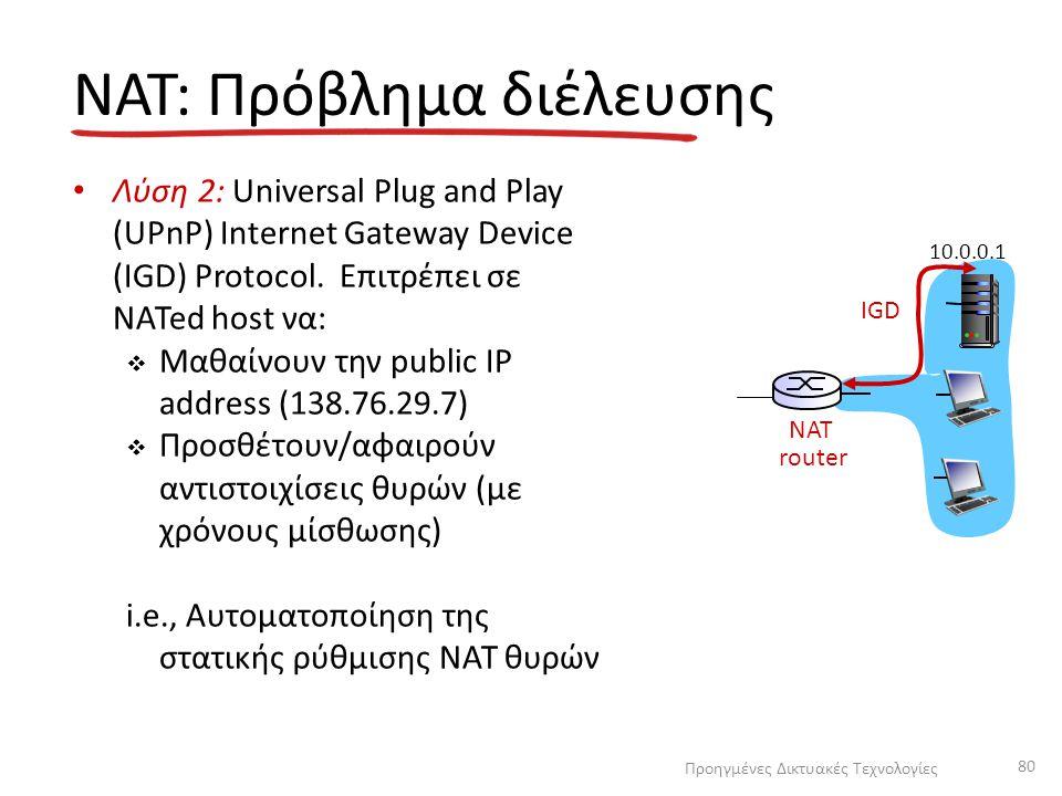 NAT: Πρόβλημα διέλευσης Λύση 2: Universal Plug and Play (UPnP) Internet Gateway Device (IGD) Protocol. Επιτρέπει σε NATed host να:  Μαθαίνουν την pub