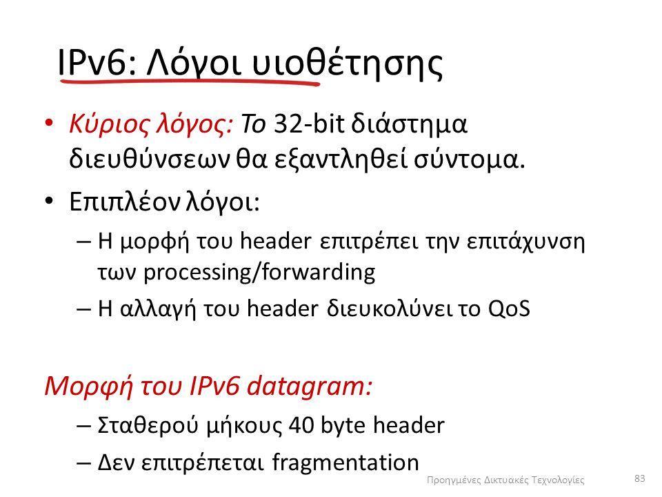 IPv6: Λόγοι υιοθέτησης Κύριος λόγος: Το 32-bit διάστημα διευθύνσεων θα εξαντληθεί σύντομα.