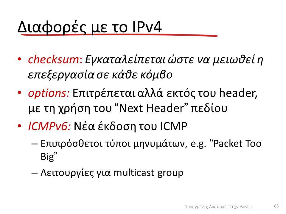 """Διαφορές με το IPv4 checksum: Εγκαταλείπεται ώστε να μειωθεί η επεξεργασία σε κάθε κόμβο options: Επιτρέπεται αλλά εκτός του header, με τη χρήση του """""""