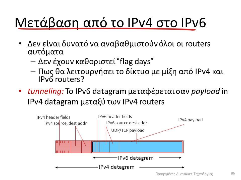 """Μετάβαση από το IPv4 στο IPv6 Δεν είναι δυνατό να αναβαθμιστούν όλοι οι routers αυτόματα – Δεν έχουν καθοριστεί """"flag days"""" – Πως θα λειτουργήσει το δ"""