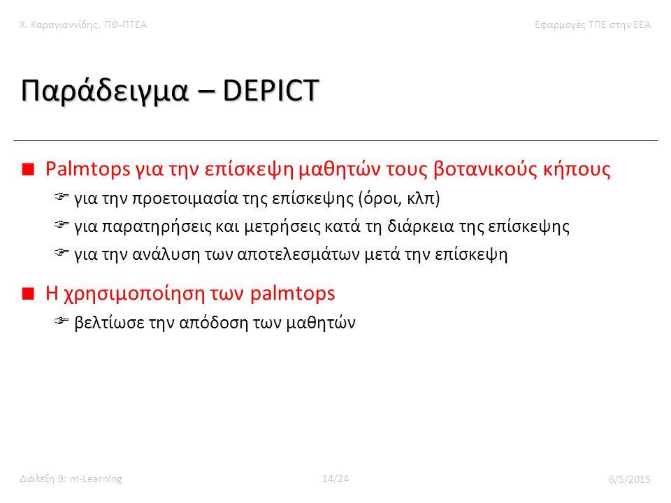 Χ. Καραγιαννίδης, ΠΘ-ΠΤΕΑΕφαρμογές ΤΠΕ στην ΕΕΑ Διάλεξη 9: m-Learning14/24 6/5/2015 Παράδειγμα – DEPICT Palmtops για την επίσκεψη μαθητών τους βοτανικ