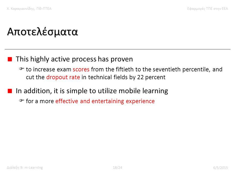 Χ. Καραγιαννίδης, ΠΘ-ΠΤΕΑΕφαρμογές ΤΠΕ στην ΕΕΑ Διάλεξη 9: m-Learning18/24 6/5/2015 Αποτελέσματα This highly active process has proven  to increase e