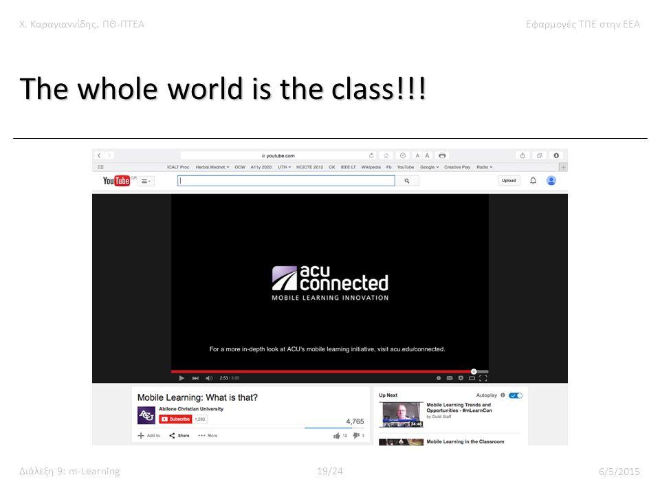 Χ. Καραγιαννίδης, ΠΘ-ΠΤΕΑΕφαρμογές ΤΠΕ στην ΕΕΑ Διάλεξη 9: m-Learning19/24 6/5/2015 The whole world is the class!!!