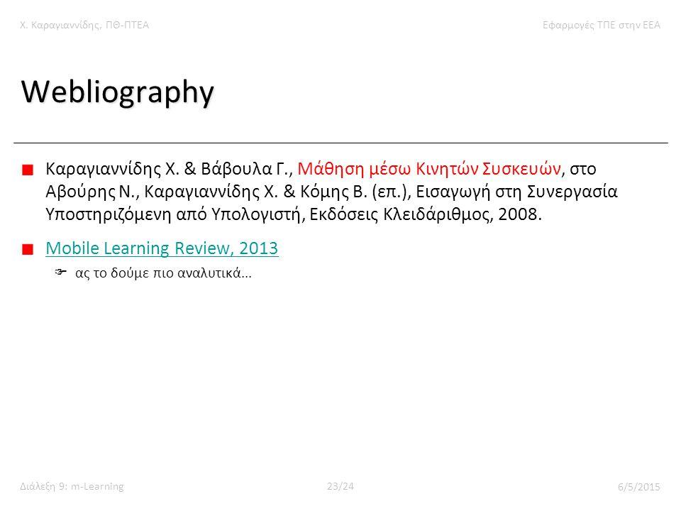 Χ. Καραγιαννίδης, ΠΘ-ΠΤΕΑΕφαρμογές ΤΠΕ στην ΕΕΑ Διάλεξη 9: m-Learning23/24 6/5/2015 Webliography Καραγιαννίδης Χ. & Βάβουλα Γ., Μάθηση μέσω Κινητών Συ