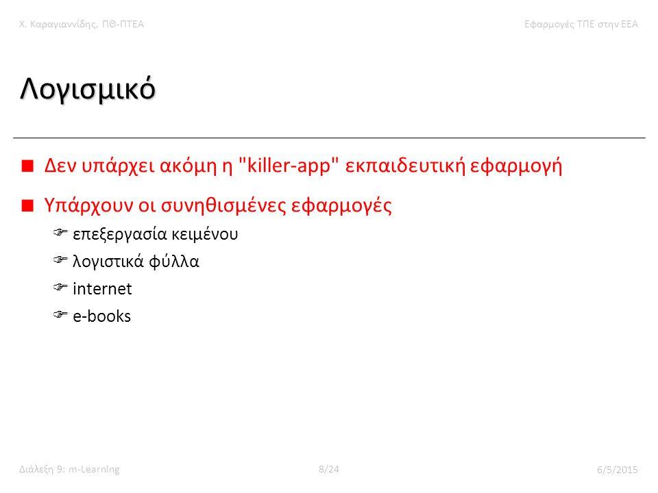Χ. Καραγιαννίδης, ΠΘ-ΠΤΕΑΕφαρμογές ΤΠΕ στην ΕΕΑ Διάλεξη 9: m-Learning8/24 6/5/2015 Λογισμικό Δεν υπάρχει ακόμη η