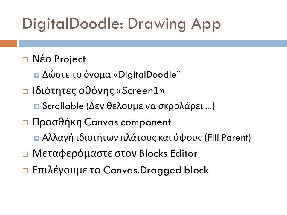 DigitalDoodle: Drawing App  Νέο Project  Δώστε το όνομα «DigitalDoodle  Ιδιότητες οθόνης «Screen1»  Scrollable ( Δεν θέλουμε να σκρολάρει …)  Προσθήκη Canvas component  Αλλαγή ιδιοτήτων πλάτους και ύψους (Fill Parent)  Μεταφερόμαστε στον Blocks Editor  Επιλέγουμε το Canvas.Dragged block