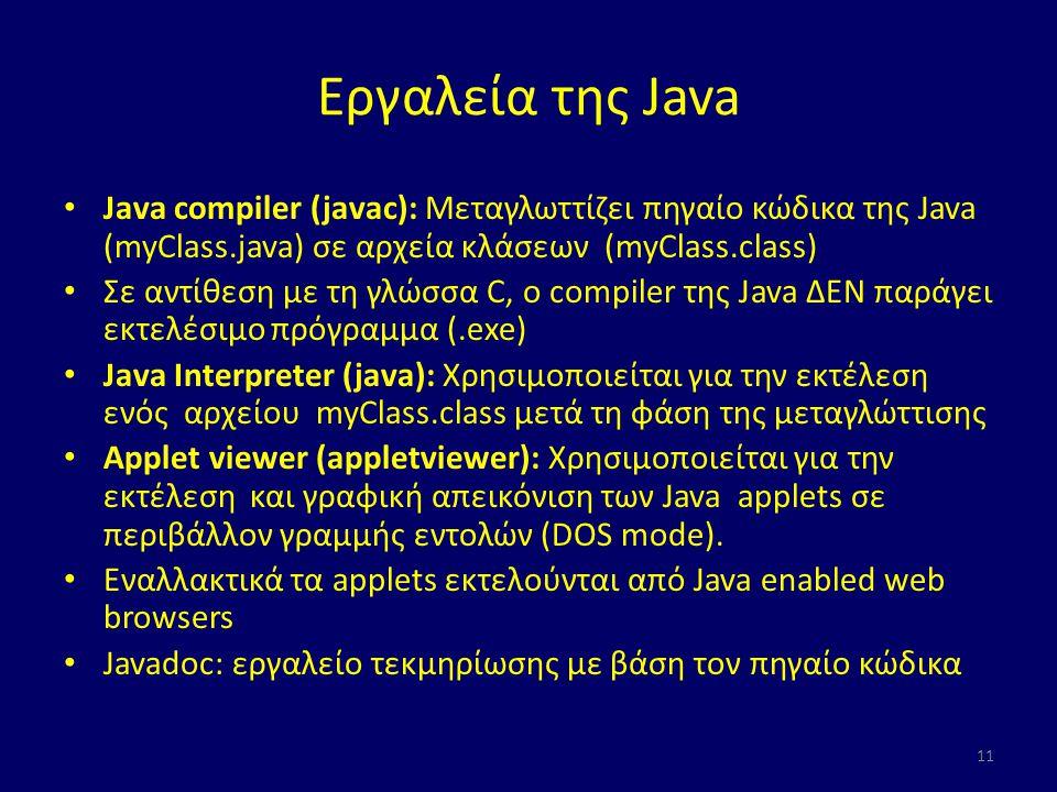 Εργαλεία της Java Java compiler (javac): Μεταγλωττίζει πηγαίο κώδικα της Java (myClass.java) σε αρχεία κλάσεων (myClass.class) Σε αντίθεση με τη γλώσσα C, ο compiler της Java ΔΕΝ παράγει εκτελέσιμο πρόγραμμα (.exe) Java Interpreter (java): Χρησιμοποιείται για την εκτέλεση ενός αρχείου myClass.class μετά τη φάση της μεταγλώττισης Applet viewer (appletviewer): Χρησιμοποιείται για την εκτέλεση και γραφική απεικόνιση των Java applets σε περιβάλλον γραμμής εντολών (DOS mode).