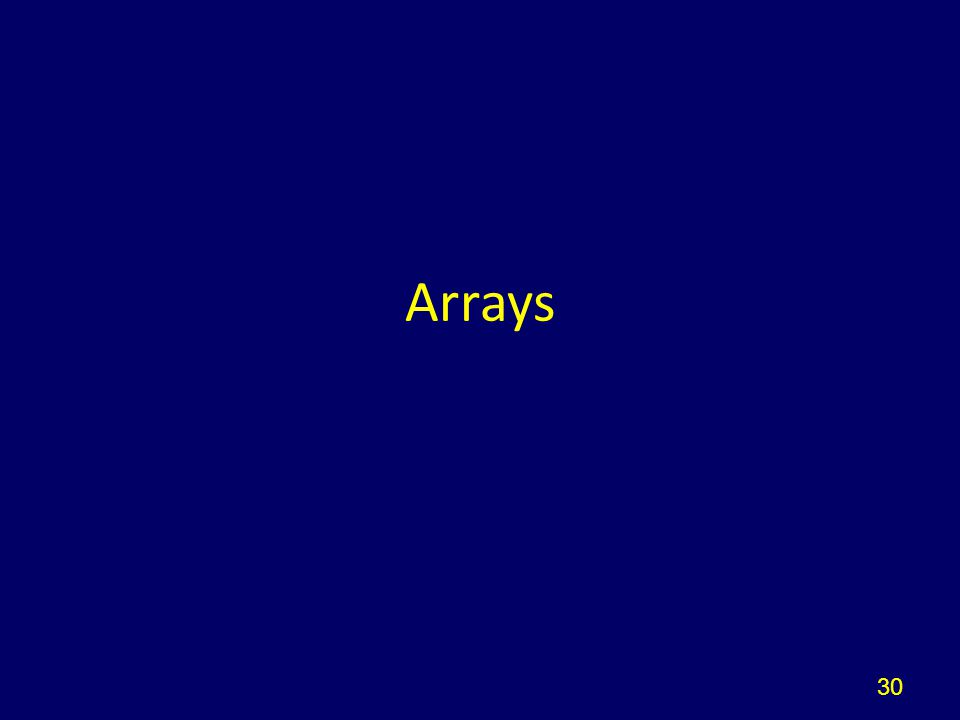 30 Arrays