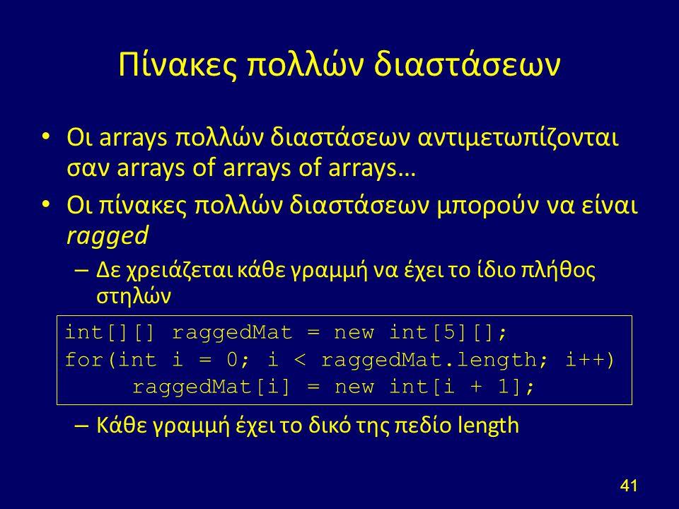 Πίνακες πολλών διαστάσεων Οι arrays πολλών διαστάσεων αντιμετωπίζονται σαν arrays of arrays of arrays… Οι πίνακες πολλών διαστάσεων μπορούν να είναι ragged – Δε χρειάζεται κάθε γραμμή να έχει το ίδιο πλήθος στηλών – Κάθε γραμμή έχει το δικό της πεδίο length 41 int[][] raggedMat = new int[5][]; for(int i = 0; i < raggedMat.length; i++) raggedMat[i] = new int[i + 1];