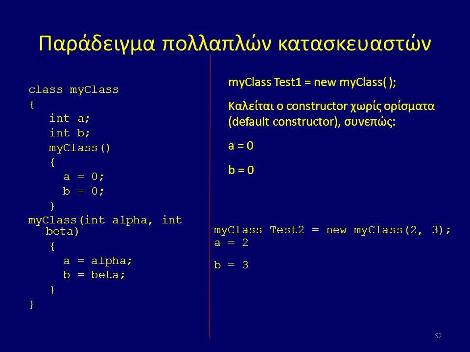 Παράδειγμα πολλαπλών κατασκευαστών class myClass { int a; int b; myClass() { a = 0; b = 0; } myClass(int alpha, int beta) { a = alpha; b = beta; } 62 myClass Test1 = new myClass( ); Καλείται ο constructor χωρίς ορίσματα (default constructor), συνεπώς: a = 0 b = 0 myClass Test2 = new myClass(2, 3); a = 2 b = 3