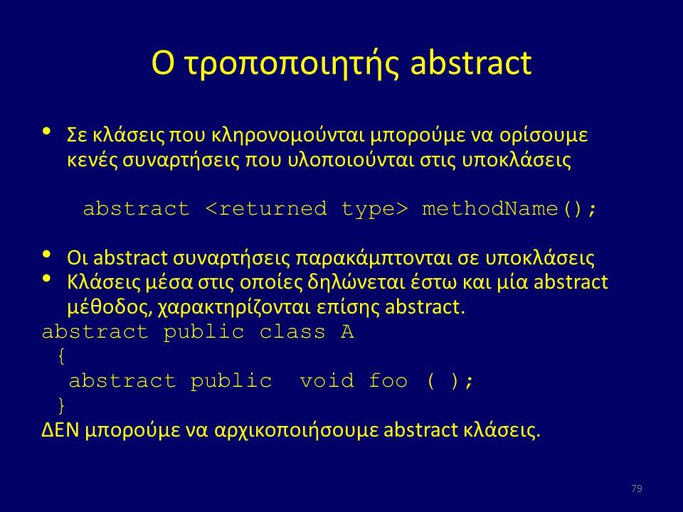 Ο τροποποιητής abstract Σε κλάσεις που κληρονομούνται μπορούμε να ορίσουμε κενές συναρτήσεις που υλοποιούνται στις υποκλάσεις abstract methodName(); Οι abstract συναρτήσεις παρακάμπτονται σε υποκλάσεις Κλάσεις μέσα στις οποίες δηλώνεται έστω και μία abstract μέθοδος, χαρακτηρίζονται επίσης abstract.