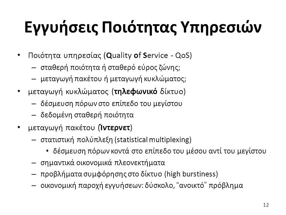 12 Εγγυήσεις Ποιότητας Υπηρεσιών Ποιότητα υπηρεσίας (Quality of Service - QoS) – σταθερή ποιότητα ή σταθερό εύρος ζώνης; – μεταγωγή πακέτου ή μεταγωγή κυκλώματος; μεταγωγή κυκλώματος (τηλεφωνικό δίκτυο) – δέσμευση πόρων στο επίπεδο του μεγίστου – δεδομένη σταθερή ποιότητα μεταγωγή πακέτου (Ίντερνετ) – στατιστική πολύπλεξη (statistical multiplexing) δέσμευση πόρων κοντά στο επίπεδο του μέσου αντί του μεγίστου – σημαντικά οικονομικά πλεονεκτήματα – προβλήματα συμφόρησης στο δίκτυο (high burstiness) – οικονομική παροχή εγγυήσεων: δύσκολο, ανοικτό πρόβλημα