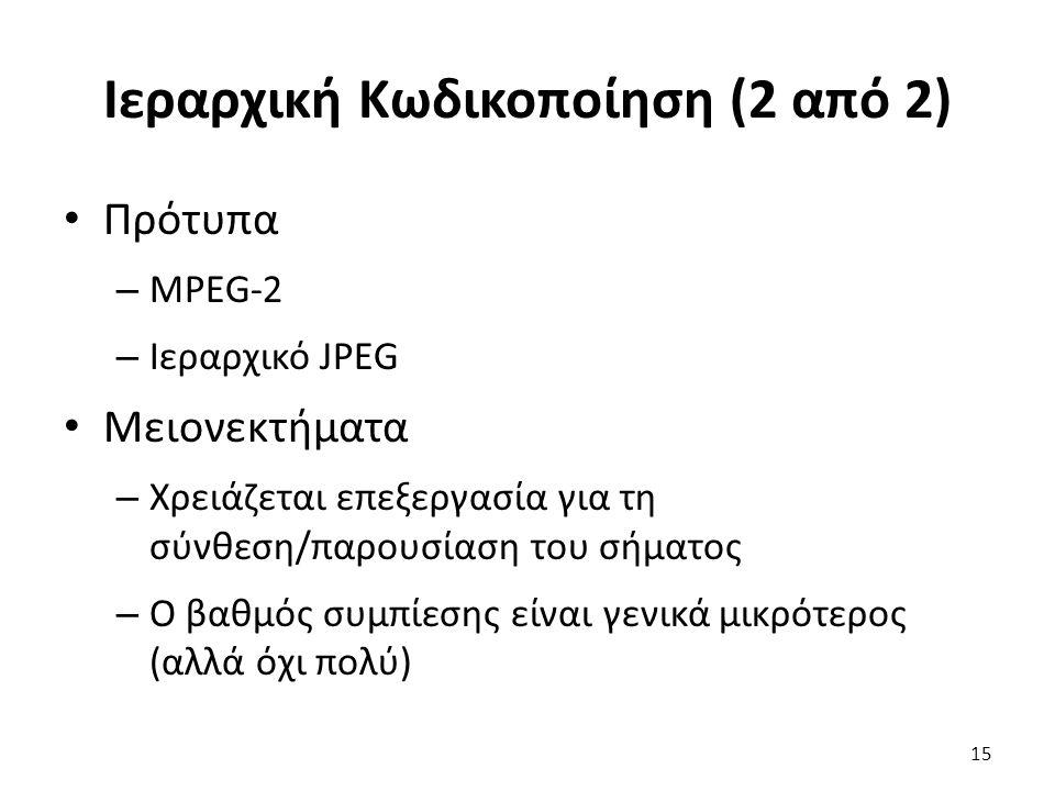 15 Ιεραρχική Κωδικοποίηση (2 από 2) Πρότυπα – MPEG-2 – Ιεραρχικό JPEG Μειονεκτήματα – Χρειάζεται επεξεργασία για τη σύνθεση/παρουσίαση του σήματος – Ο βαθμός συμπίεσης είναι γενικά μικρότερος (αλλά όχι πολύ)