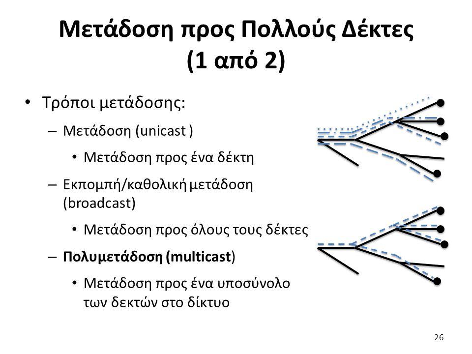 Μετάδοση προς Πολλούς Δέκτες (1 από 2) Τρόποι μετάδοσης: – Μετάδοση (unicast ) Μετάδοση προς ένα δέκτη – Εκπομπή/καθολική μετάδοση (broadcast) Μετάδοση προς όλους τους δέκτες – Πολυμετάδοση (multicast) Μετάδοση προς ένα υποσύνολο των δεκτών στο δίκτυο 26