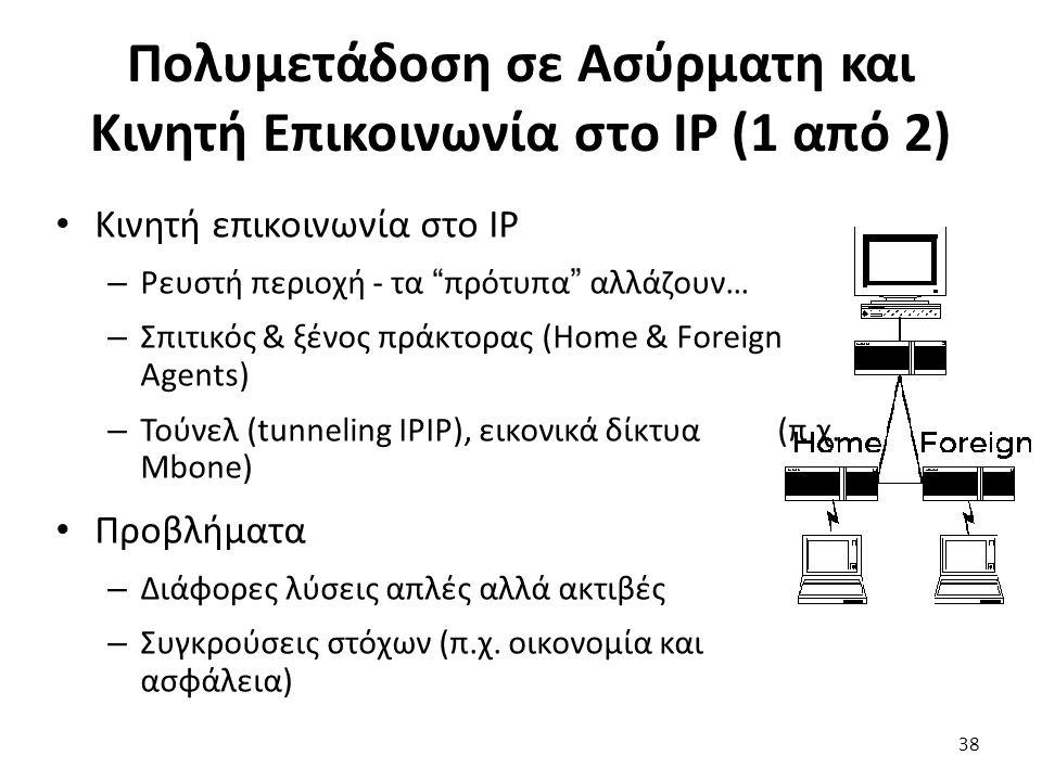 Πολυμετάδοση σε Ασύρματη και Κινητή Επικοινωνία στο IP (1 από 2) Κινητή επικοινωνία στο IP – Ρευστή περιοχή - τα πρότυπα αλλάζουν… – Σπιτικός & ξένος πράκτορας (Home & Foreign Agents) – Τούνελ (tunneling IPIP), εικονικά δίκτυα (π.χ.