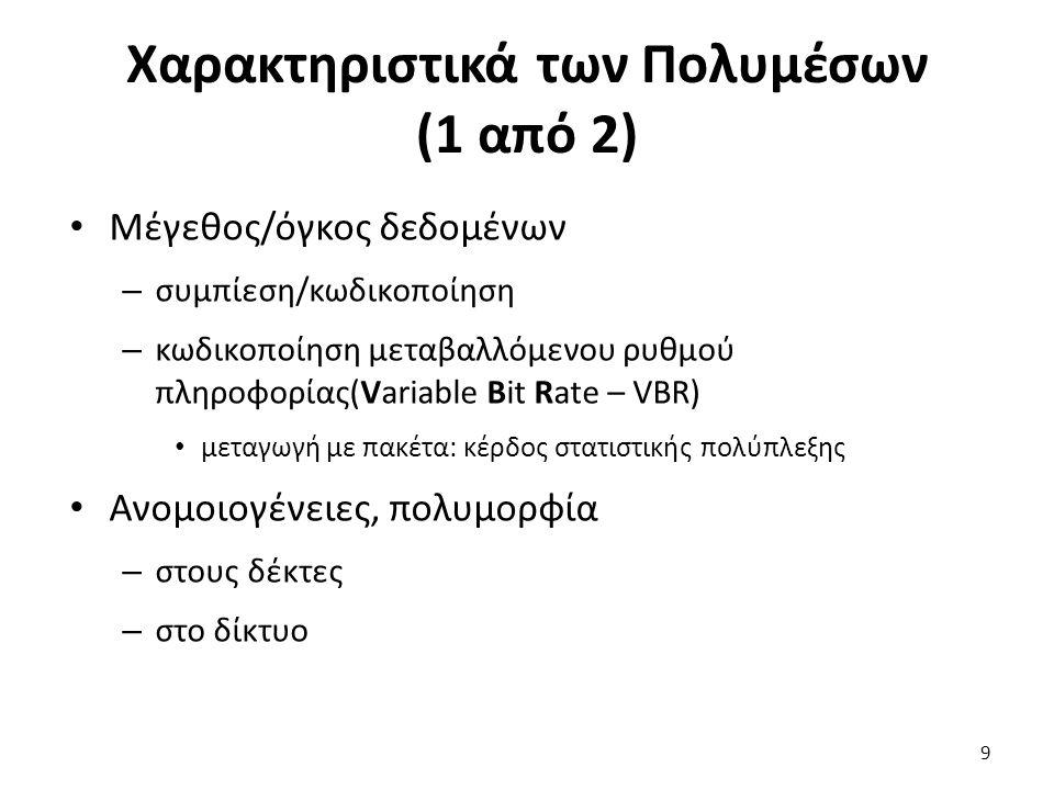 9 Χαρακτηριστικά των Πολυμέσων (1 από 2) Μέγεθος/όγκος δεδομένων – συμπίεση/κωδικοποίηση – κωδικοποίηση μεταβαλλόμενου ρυθμού πληροφορίας(Variable Bit Rate – VBR) μεταγωγή με πακέτα: κέρδος στατιστικής πολύπλεξης Ανομοιογένειες, πολυμορφία – στους δέκτες – στο δίκτυο