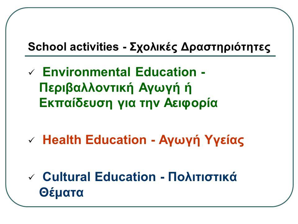 School activities - Σχολικές Δραστηριότητες Environmental Education - Περιβαλλοντική Αγωγή ή Εκπαίδευση για την Αειφορία Health Education - Αγωγή Υγεί