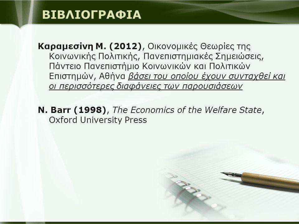 ΒΙΒΛΙΟΓΡΑΦΙΑ Καραμεσίνη Μ. (2012), Οικονομικές Θεωρίες της Κοινωνικής Πολιτικής, Πανεπιστημιακές Σημειώσεις, Πάντειο Πανεπιστήμιο Κοινωνικών και Πολιτ