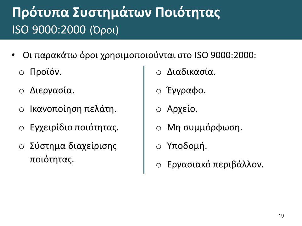 Πρότυπα Συστημάτων Ποιότητας ΙSΟ 9000:2000 (Όροι) 19 Οι παρακάτω όροι χρησιμοποιούνται στο ΙSO 9000:2000: o Προϊόν. o Διεργασία. o Ικανοποίηση πελάτη.