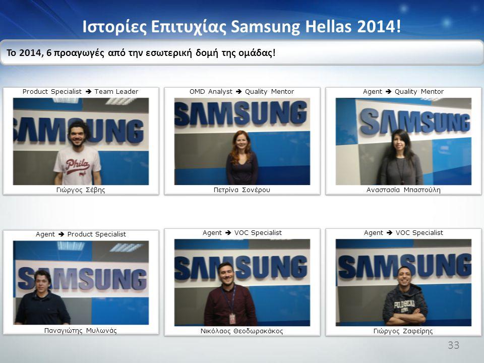 Ιστορίες Επιτυχίας Samsung Hellas 2014! Το 2014, 6 προαγωγές από την εσωτερική δομή της ομάδας! Product Specialist  Team Leader Γιώργος Σέβης OMD Ana