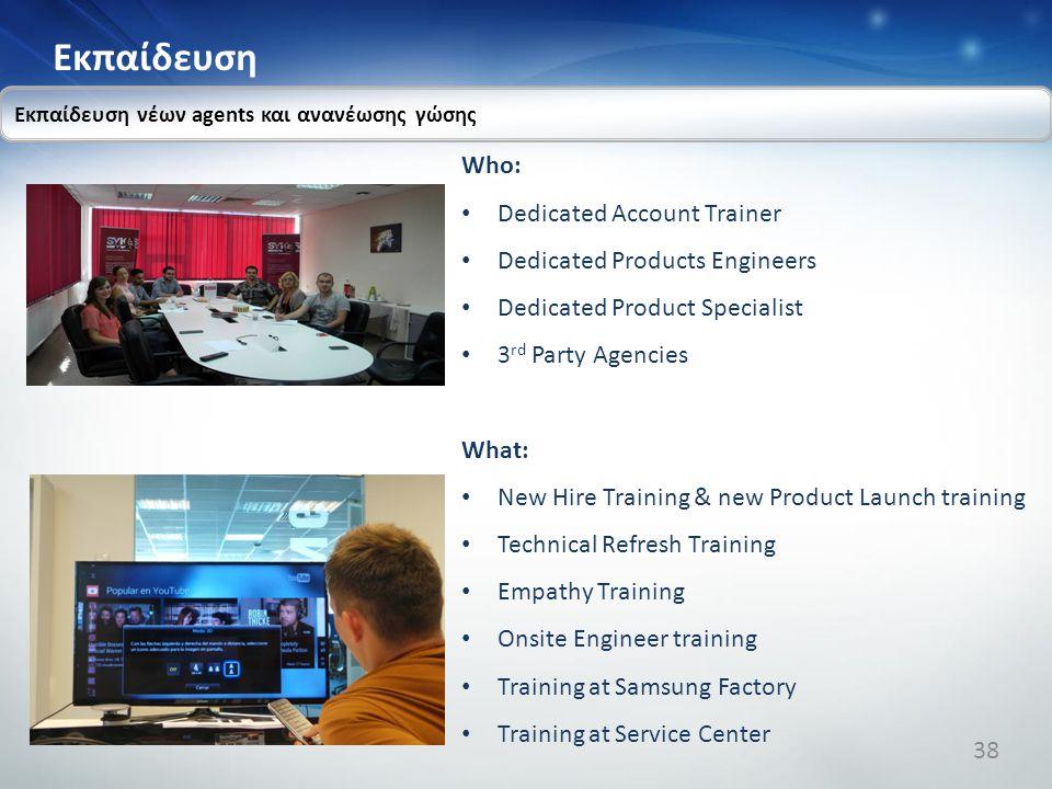 Εκπαίδευση Εκπαίδευση νέων agents και ανανέωσης γώσης Who: Dedicated Account Trainer Dedicated Products Engineers Dedicated Product Specialist 3 rd Pa