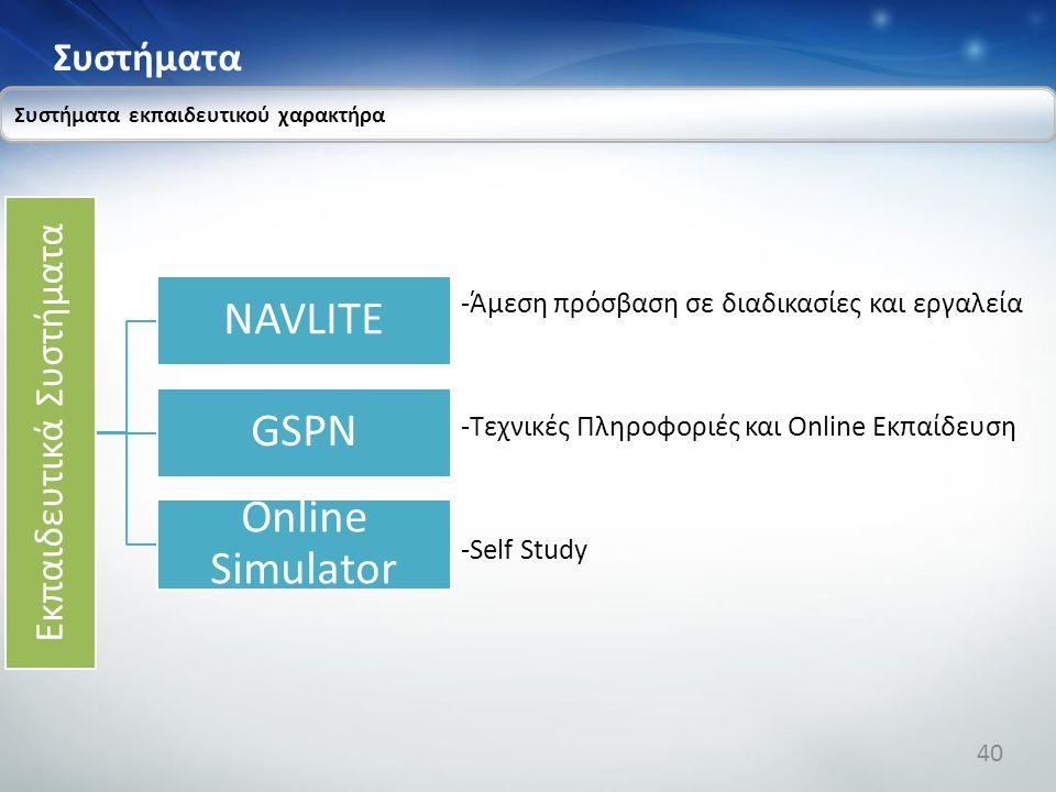 Συστήματα Συστήματα εκπαιδευτικού χαρακτήρα Εκπαιδευτικά Συστήματα NAVLITE GSPN Online Simulator -Άμεση πρόσβαση σε διαδικασίες και εργαλεία -Τεχνικές