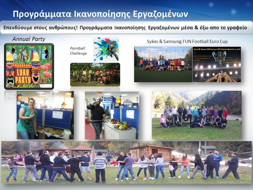 Προγράμματα Ικανοποίησης Εργαζομένων Επενδύουμε στους ανθρώπους! Προγράμματα Ικανοποίησης Εργαζομένων μέσα & έξω απο το γραφείο Annual Party Paintball