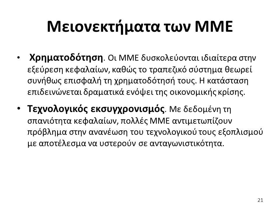 Μειονεκτήματα των ΜΜΕ Χρηματοδότηση. Οι ΜΜΕ δυσκολεύονται ιδιαίτερα στην εξεύρεση κεφαλαίων, καθώς το τραπεζικό σύστημα θεωρεί συνήθως επισφαλή τη χρη
