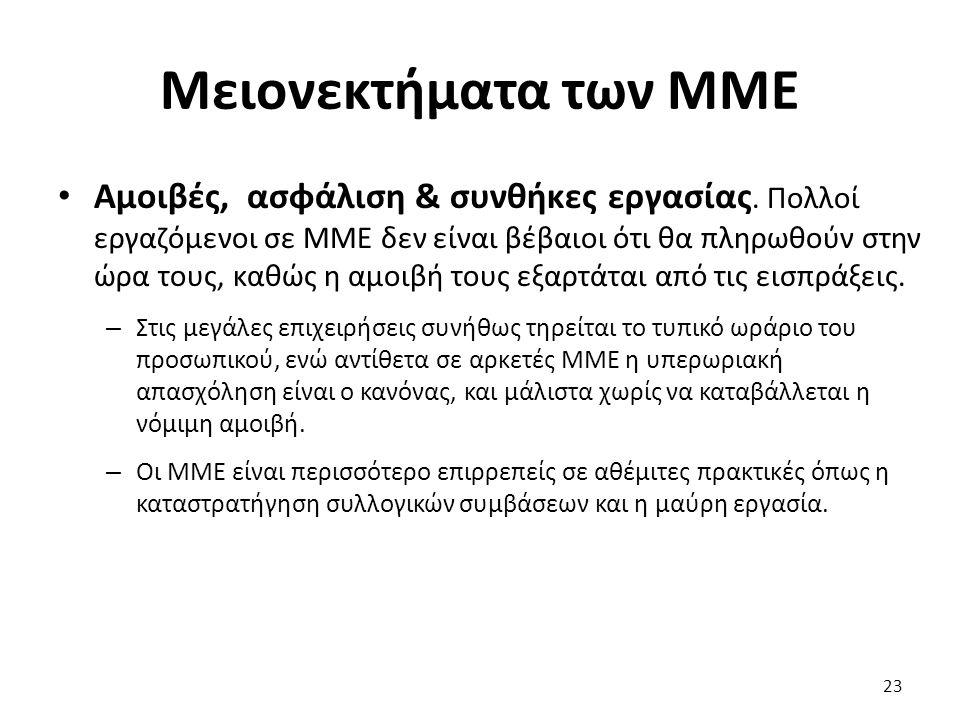 Μειονεκτήματα των ΜΜΕ Αμοιβές, ασφάλιση & συνθήκες εργασίας. Πολλοί εργαζόμενοι σε ΜΜΕ δεν είναι βέβαιοι ότι θα πληρωθούν στην ώρα τους, καθώς η αμοιβ