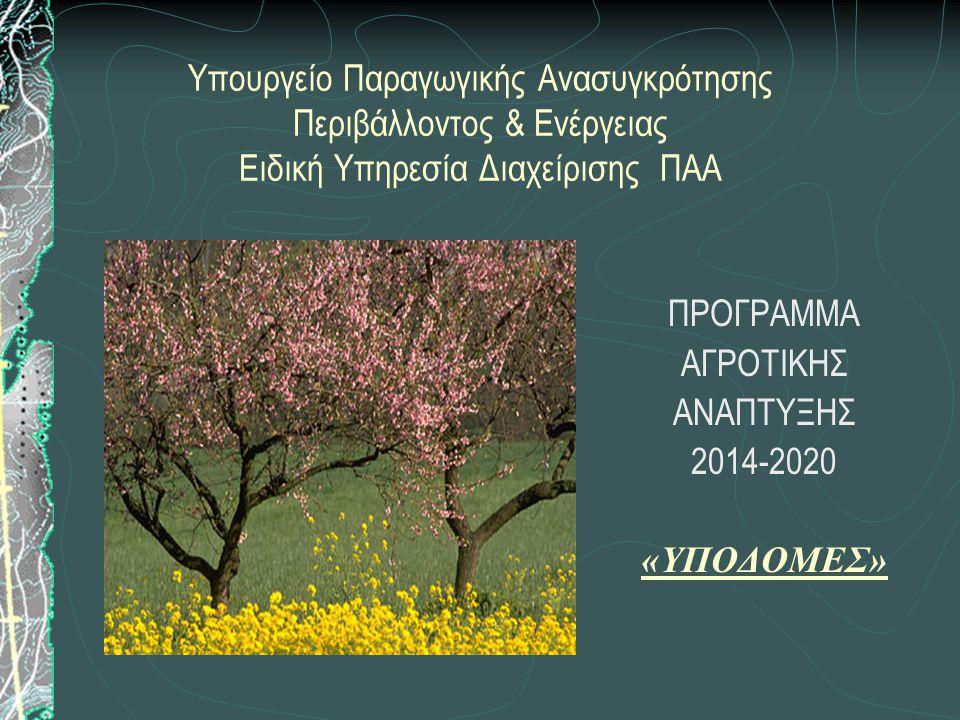 Υπουργείο Παραγωγικής Ανασυγκρότησης Περιβάλλοντος & Ενέργειας Ειδική Υπηρεσία Διαχείρισης ΠΑΑ ΠΡΟΓΡΑΜΜΑ ΑΓΡΟΤΙΚΗΣ ΑΝΑΠΤΥΞΗΣ 2014-2020 «ΥΠΟΔΟΜΕΣ»