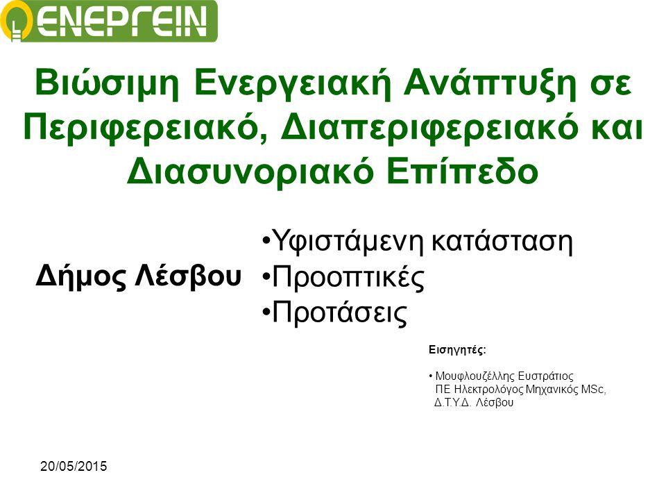 20/05/2015 Ενεργειακός Σχεδιασμός στο Δήμο Λέσβου Το Σύμφωνο των Νησιών (Pact Of Islands): ΕΞΩΣΤΡΕΦΕΙΑ - ΔΗΜΙΟΥΡΓΙΑ ΣΥΝΔΕΣΜΩΝ Συμμετοχή σε Ευρωπαϊκά Δίκτυα Προώθηση πολιτικών σε Ευρωπαϊκό επίπεδο Δικτύωση με άλλους φορείς / ΟΤΑ Διεκδίκηση πόρων προς νησιωτικότητα Πρόσβαση σε χρηματοδοτήσεις Μεταφορά γνώσης Παραδείγματα και καλές πρακτικές Προβολή νησιών σε Ευρωπαϊκό επίπεδο