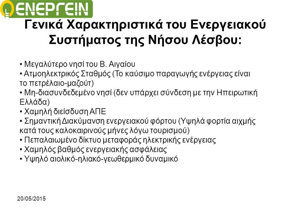 20/05/2015 Πιέσεις για τη Νήσο Λέσβου: 1) Χαμηλός βαθμός ενεργειακής Ασφάλειας: Ωστόσο, η στροφή προς την πράσινη ενέργεια, έρχεται να εισαγάγει νέα δεδομένα στον ενεργειακό χάρτη, εκτοπίζοντας τους συμβατικούς τρόπους παραγωγής ενέργειας, ή αυξάνοντας την ανάγκη (όχι όμως απαραίτητα και τη δυνατότητα..) εισαγωγής - εμπλουτισμού του ενεργειακού μίγματος στο σύστημα.