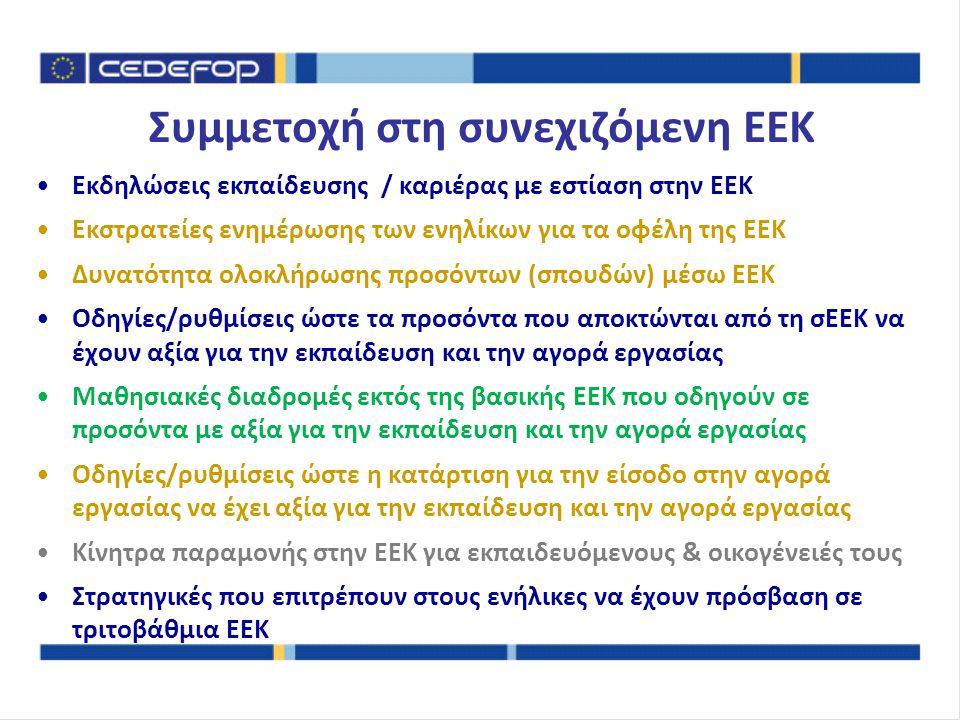 Εκδηλώσεις εκπαίδευσης / καριέρας με εστίαση στην ΕΕΚ Εκστρατείες ενημέρωσης των ενηλίκων για τα οφέλη της ΕΕΚ Δυνατότητα ολοκλήρωσης προσόντων (σπουδών) μέσω ΕΕΚ Οδηγίες/ρυθμίσεις ώστε τα προσόντα που αποκτώνται από τη σΕΕΚ να έχουν αξία για την εκπαίδευση και την αγορά εργασίας Μαθησιακές διαδρομές εκτός της βασικής ΕΕΚ που οδηγούν σε προσόντα με αξία για την εκπαίδευση και την αγορά εργασίας Οδηγίες/ρυθμίσεις ώστε η κατάρτιση για την είσοδο στην αγορά εργασίας να έχει αξία για την εκπαίδευση και την αγορά εργασίας Κίνητρα παραμονής στην ΕΕΚ για εκπαιδευόμενους & οικογένειές τους Στρατηγικές που επιτρέπουν στους ενήλικες να έχουν πρόσβαση σε τριτοβάθμια ΕΕΚ