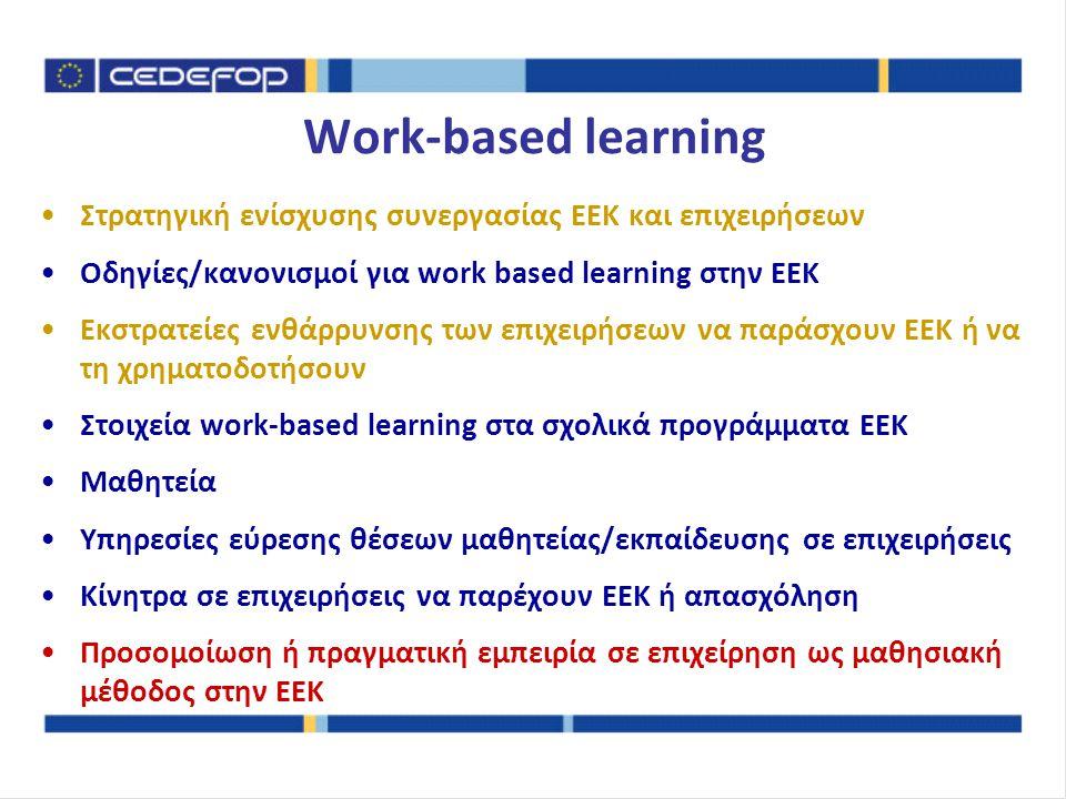 Στρατηγική ενίσχυσης συνεργασίας ΕΕΚ και επιχειρήσεων Οδηγίες/κανονισμοί για work based learning στην ΕΕΚ Εκστρατείες ενθάρρυνσης των επιχειρήσεων να παράσχουν ΕΕΚ ή να τη χρηματοδοτήσουν Στοιχεία work-based learning στα σχολικά προγράμματα ΕΕΚ Μαθητεία Υπηρεσίες εύρεσης θέσεων μαθητείας/εκπαίδευσης σε επιχειρήσεις Κίνητρα σε επιχειρήσεις να παρέχουν ΕΕΚ ή απασχόληση Προσομοίωση ή πραγματική εμπειρία σε επιχείρηση ως μαθησιακή μέθοδος στην ΕΕΚ