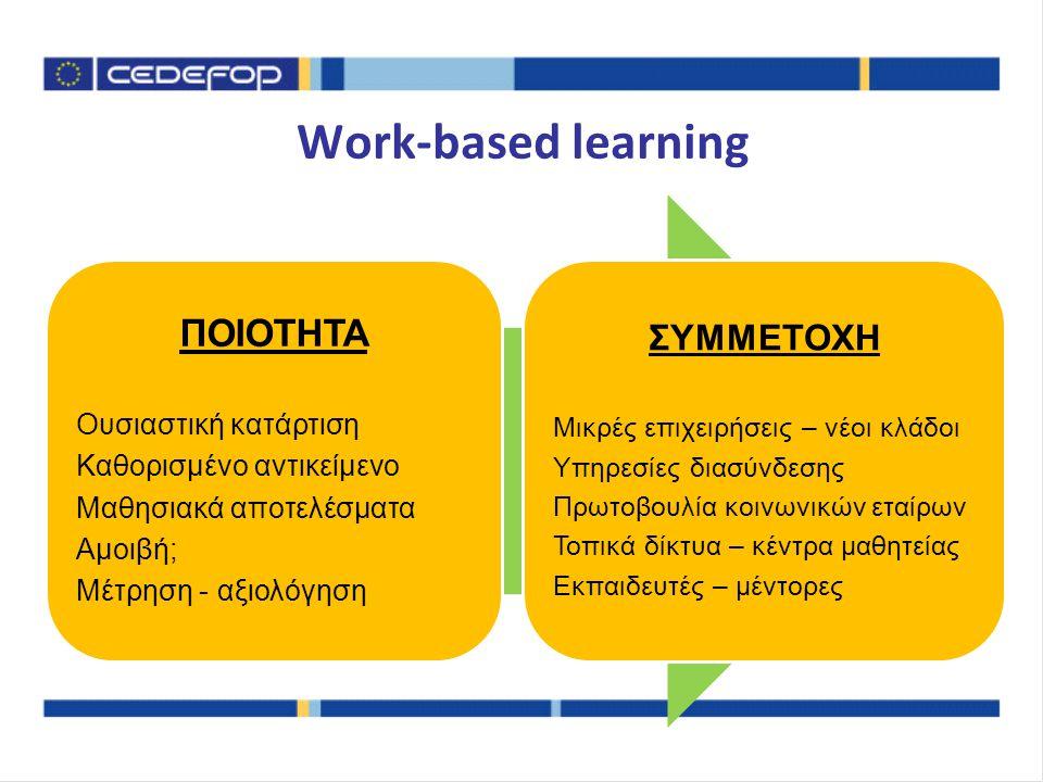 Γενικές διαπιστώσεις Συνδυασμός πολιτικών Ενίσχυση συνεργασίας δευτεροβάθμιας ΕΕΚ και επιχειρήσεων –νέα πεδία: εκπαίδευση εκπαιδευτών, προσομοιώσεις Λόγος και ευθύνη σε εταίρους σε όλα τα στάδια: –ανάγκες σε δεξιότητες, περιγράμματα και πλαίσια προσόντων, κατάρτιση, αξιολόγηση και αναγνώριση προσόντων, παρακολούθηση αποτελεσματικότητας Αλλαγή επιπέδου στις υπάρχουσες πολιτικές: –ποιότητα, συνάφεια, αξιολόγηση 'Έξυπνες δράσεις': επιμερισμός κόστους, τοπικά αποτελέσματα Συνέχεια: από έργα και παραδοτέα σε σταθερές πολιτικές