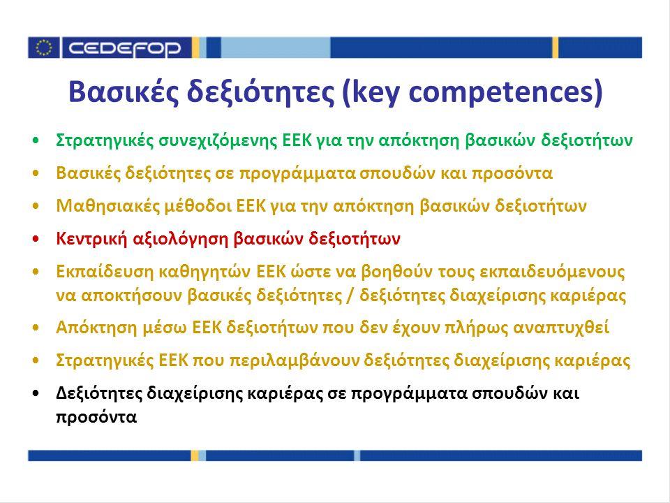 Στρατηγικές συνεχιζόμενης ΕΕΚ για την απόκτηση βασικών δεξιοτήτων Βασικές δεξιότητες σε προγράμματα σπουδών και προσόντα Μαθησιακές μέθοδοι ΕΕΚ για την απόκτηση βασικών δεξιοτήτων Κεντρική αξιολόγηση βασικών δεξιοτήτων Εκπαίδευση καθηγητών ΕΕΚ ώστε να βοηθούν τους εκπαιδευόμενους να αποκτήσουν βασικές δεξιότητες / δεξιότητες διαχείρισης καριέρας Απόκτηση μέσω ΕΕΚ δεξιοτήτων που δεν έχουν πλήρως αναπτυχθεί Στρατηγικές ΕΕΚ που περιλαμβάνουν δεξιότητες διαχείρισης καριέρας Δεξιότητες διαχείρισης καριέρας σε προγράμματα σπουδών και προσόντα