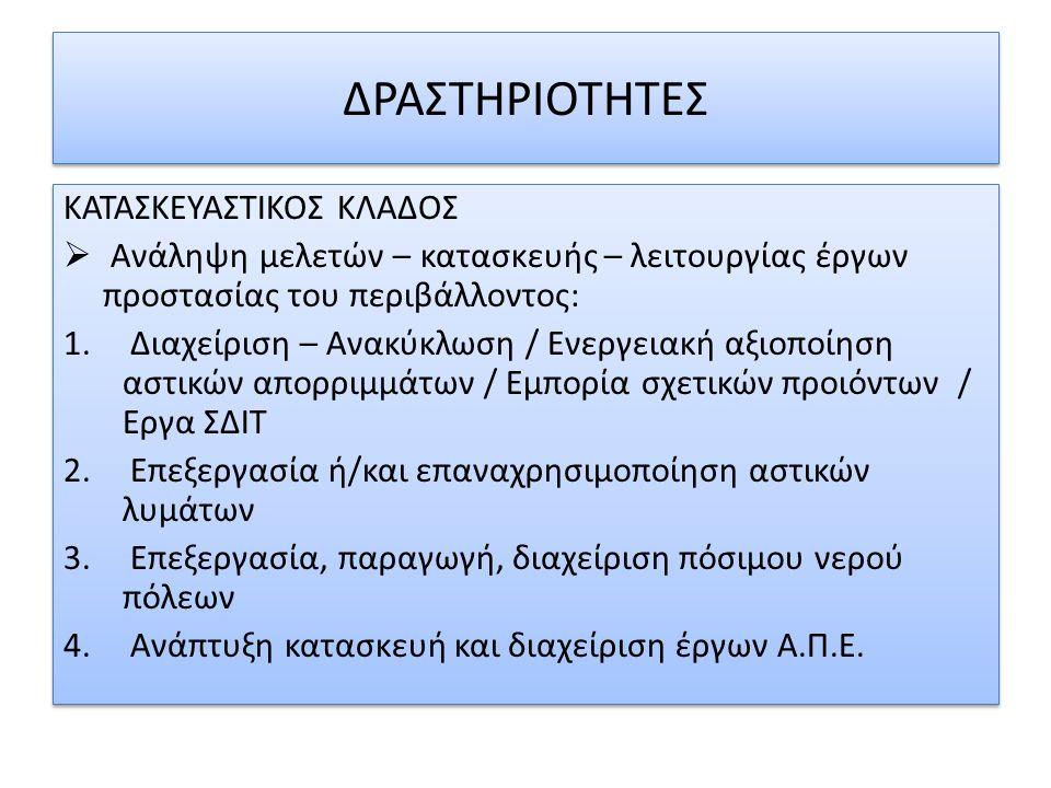  Η εταιρεία δραστηριοποιείται στον τομέα του σχεδιασμού, κατασκευής και διαχείρισης εργοστασίων επεξεργασίας απορριμμάτων στην Ελλάδα και με ΣΔΙΤ.